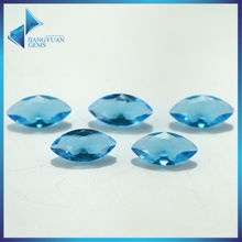100pcs 2x4-8x16mm SeaBlue Color Marquise Shape Machine Cut Loose Glass Gems stone Beads Synthetic Gems(China)
