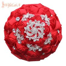 WIFELAI-A New Brand Red Rose Flower Butterfly Diamond Brooch Wedding Bouquet Bridesmaid Mariage Polyester Wedding Bouquet W292-4