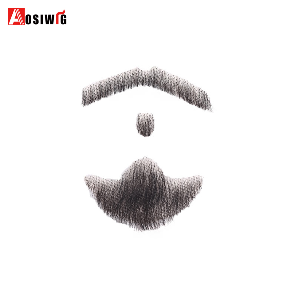 Weave Fake Beard Man Mustache Makeup for Film and Television Makeup Synthetic Fake Hair Cospaly Party Tools AOSIWIG bigote real