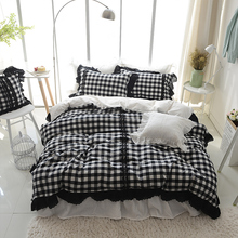 4/6pcs white and black striped and plaid bedding sets fashion lace bed linen twin queen king size duvet cover set bed skirt