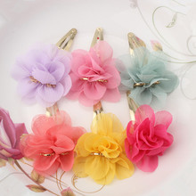 New Chiffon Flower Smile Letter Hairpins Baby Children Hair Accessories Girls Hairpins Fresh Color Hair Clip(China)
