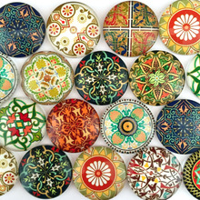 ZEROUP 12mm round photo glass cabochon mixed pattern fit cameo base setting for jewelry flatback 50pcs/lot TP-168