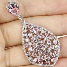 Classic Style Pink Kunzits , White CZ Woman's Party 925 Silver Pendant 55x25mm
