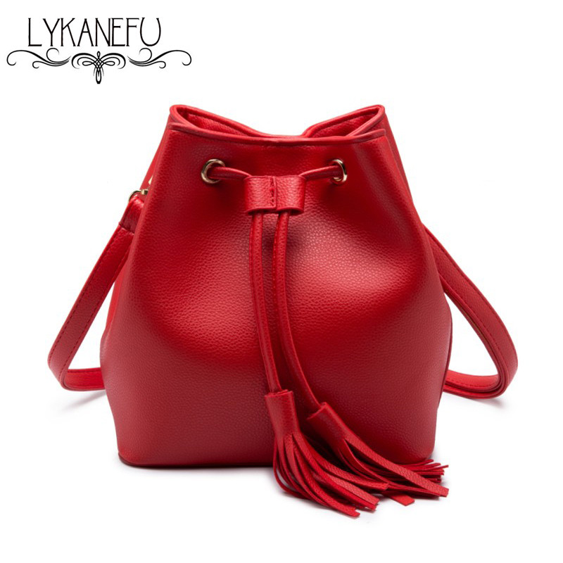 LYKANEFU Bucket Bag Women Messenger Bags Artificial Pu Leather String Shoulder Bag Luxury Bags Famous Designer Handbag <br><br>Aliexpress