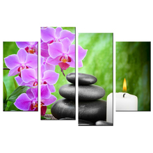 Zen Art Orchid Canvas Black Stone HD Printed Picture Wall Mural Home Decorative Painting Still Life Poster artwork Contemporary