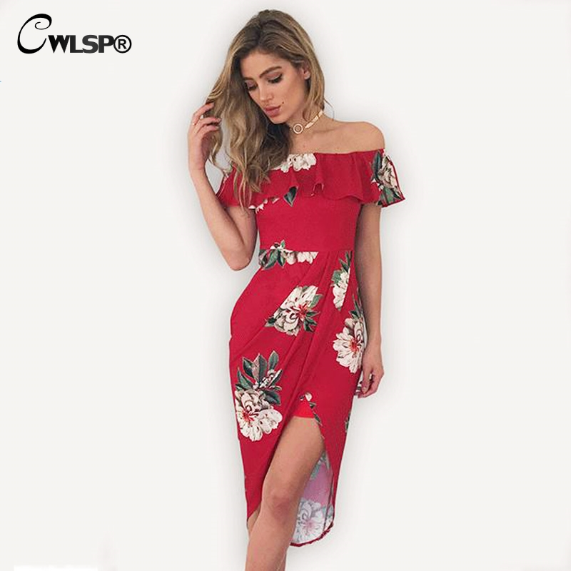 CWLSP Summer Holiday Fashion Women Dress Floral Print Slash Ruffles Neck Vestido Sexy Female 2017 vestidos mujer QL3052(China (Mainland))
