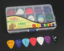100pcs Alice Long Life Animal Pattern Celluloid Guitar Picks Plectrum Pick Various 0.46mm/0.71mm/0.81mm + 15 Grid Case