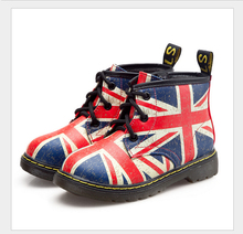 Size: 21-25 children Martin boots / NEW! British-style boots kids / boys and girls flag pattern winter boots / kids short boots
