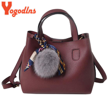 Yogodlns New Arrival PU Leather Women Handbags Single Shoulder Bag Girls Small Casual Shopping Bag Crossbody Bag Hairball Decals(China)