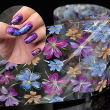 4cm*100cm Roll Purple Blue Orange Flowers Decoration Nail Art Decals Art Transfer Foil Nail Sticker Tip Decoration Easy GL30