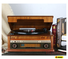 Bluetooth 4.0 Wooden Vinyl Turntable LP player phonograph with function of CD//USB/ LP-MP3 recorder 220V(China)