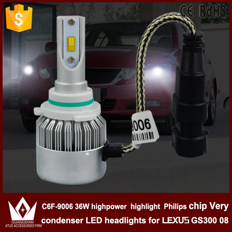 Guang Dian car led light HB4 Headlight Head lamp with mute fan 9006 low BEAM Dipped Beam C6F 6000K white for L-e-xus GS300 2008<br><br>Aliexpress