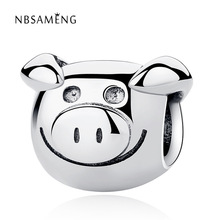 Buy Authentic 925 Sterling Silver Bead Charm Vintage Cute Pig Animal Beads Fit Pandora Women Bracelet & Bangle DIY Jewelry for $4.30 in AliExpress store