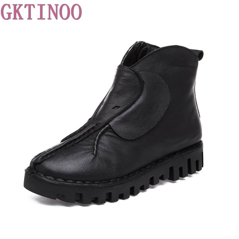 New Autumn Winter Platform Women Ankle Boots Handmade Genuine Leather Shoes Woman Black Zip Flat Boots<br>