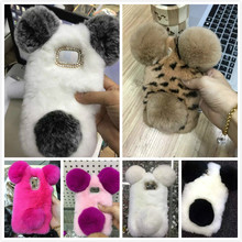 Panda Rabbit Fur Case For samsung galaxy S4 mini s4mini I9190 S5 mini s5mini G800 Cute Cartoon warm fluffy Hair plush case Cover