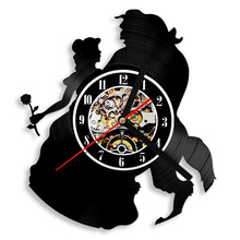 Beauty and the Beast Hollow Creative Record Clock People and Flower Antique Film Style 3D Wall Clock Wall Art Decor