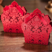 50 pcs/ bag Red Lace Candy Box Party Birthday Wedding Hollow Carriage Favors Gifts Candy Boxes Creative Storage Bag Organizer
