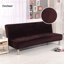 Thick Plush Sofa Towel Tight Wrap All-inclusive Slip-resistant Sofa Cover Elastic No Armrest Folding Sofa Bed Cover 160-180cm(China)