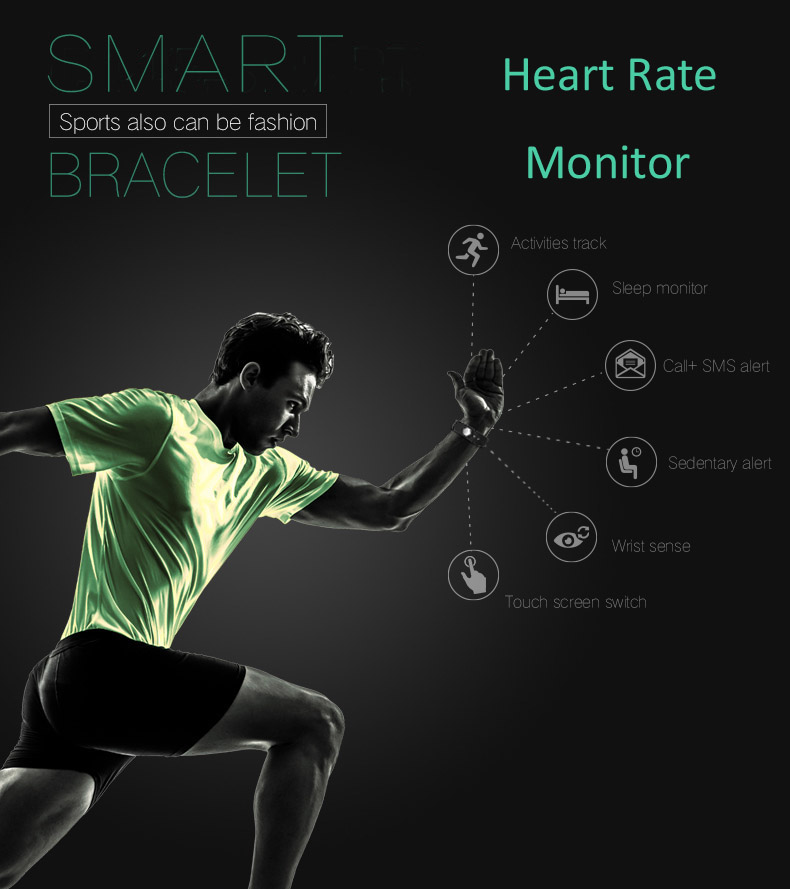 Hold Mi Smart Band ID115 HR Bluetooth Wristband Heart Rate Monitor Fitness Tracker Pedometer Bracelet For Phone 10