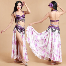 Production Bollywood Indian Belly Dance Costumes Set Bellydance Women Clothing Vestidos 3PCS Flamenco Skirt Beaded Bra Belt
