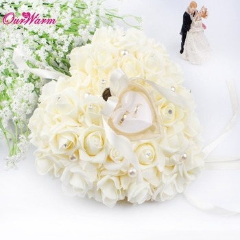 Hanging Rose Wedding Ring Pillow with Gift Ring Box Wedding Ring Pillow Box Heart Design Rhinestones for Weddings Decoration
