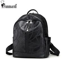FUNMARDI Vintage Casual Leather Backpack Trendy Bag With Earphone Hole New Simple Travel Shoulder Bag Famous Brand Bags WLAM0018