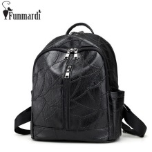 FUNMARDI Vintage Casual Leather Backpack Trendy Bag With Earphone Hole New Simple Travel Shoulder Bag Famous Brand Bags WLAM0018(China)