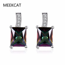 MEEKCAT Elegant and Charming Colorful Rhinestone Full Crystals Square Stud Earrings for Women Girls Statement Piercing Jewelry(China)