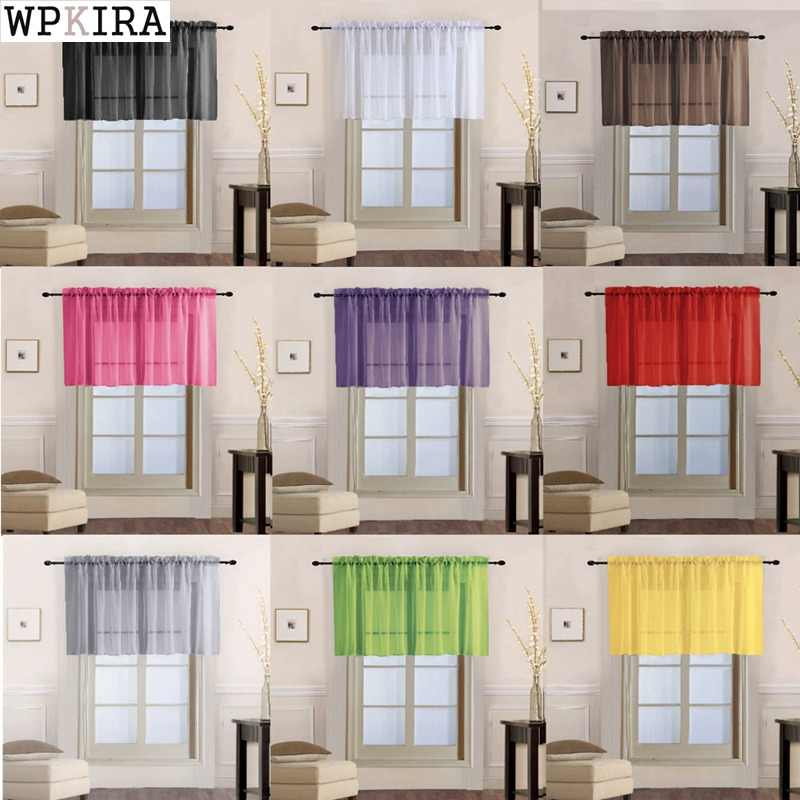 1 Piece Rod Pocket Pure Color Sheer Short Curtains Valance Tie For Small Window Voile Drapes Roman Tulle Kitchen Cafe 184&20
