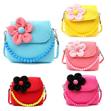 Children Kid Girls Princess Messenger Shoulder Bag Flower Beads Chain Handbag