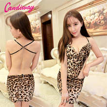 Candiway Women Sexy Intimates Lingerie Leopard Lady Uniform Babydolls & Chemises Sleepwear Sexy Costumes Nightdress Nightgown(China)