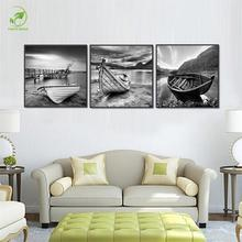 Modern Canvas Painting 3pcs Black Sketch Boats Ships Melamine Sponge Board Frame Prints Wall Art Landscape Oil Painting Picture(China)