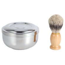 Metal Shaving Brush Bowl Shave Soap Cup/Mug with Lid With Faux Hair Shaving Brush Wood Handle Pro Men Cleaning Face Kit Set(China)