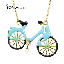 Hot Sale Gold-Color Long Chain Necklace bijoux Lovely Blue Enamel Bicycle Pendant Necklace Women Jewelry collier femme