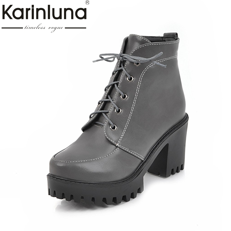 KARINLUNA Large Size 33-43 Platform Gray White Black Women Shoes Woman Fashion Lace Up Square High Heels Party Ankle Boots<br>