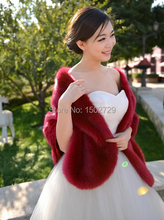 Red Black White Faux Fox Fur Boleros Bridal Fur Shawl Wedding Jackets Wraps Ivory Blue Grey Burgundy Evening Party Cappa Tippet