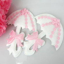 Free Shipping 24pcs Baby Umbrella Applique Baby Shower Favors Pink Girl Embellishments/ trim/Shower Craft/Decoration