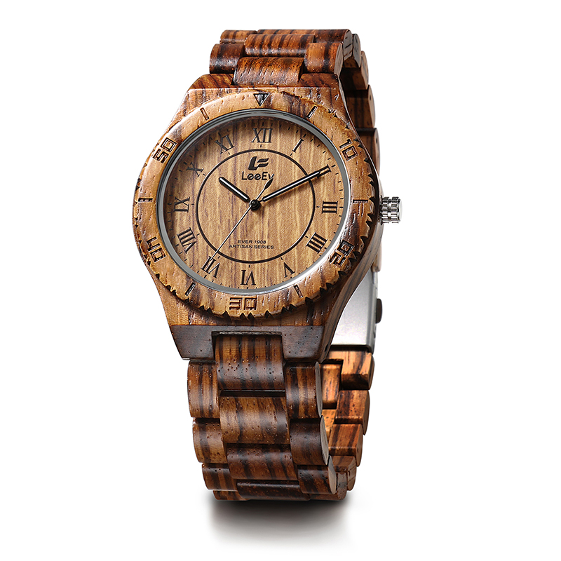 LeeEv EV1908 Mens Handmade Zebra Sandal Wood Watch Analog Quartz Light Weight Vintage Wooden Wrist Watch<br>