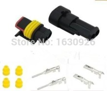 free shipping   10 sets Kit 2 Pin Way AMP Super seal Waterproof Electrical Wire Connector Plug