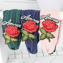 3Pc Seconds Sale Roses Print Knotted Head Wrap for Women Ladies Navy Blue Pink Black Cotton Hairband Handband for Women Headwear