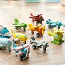 12pcs Mini Wooden Airplane Models Kit Airplane Classic Wood Model Helicopter Toy Baby Learning Education Plane Toys Set For Kids(China)