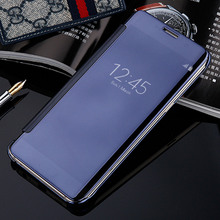 Smart View Mirror Case For Samsung Galaxy S7 S7Edge S8 Plus Phone Protector Window Clear Leather + Hard Plastic Filp Back Cover