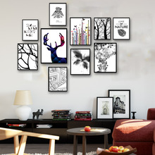 Nordic Cartoon Animals Deer Butterfly Bird Tree Art Canvas Poster Painting Modern Wall Home Decor Picture No Frame Free Shipping