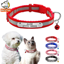 Reflective Dog ID Collar Adjustable Small Pets Cats Personalized Collars Padded Puppy Custom Collar with Bell Easy Put on XS S