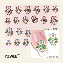 YZWLE 1Pcs Nail Art Water Sticker Nails Beauty Wraps Foil Polish Decals Chic Flower Temporary Tattoos Watermark For Nials
