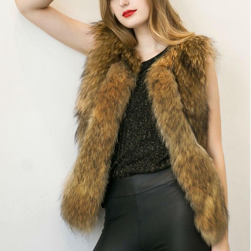 Faux Fur Coat Women Black Yellow Sleeveless Fur Ja...