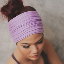 Women Wide Patchwork Headband Cotton Turban Solid Sports Headbands Adult Causal Head Scarf Elastic Headwraps Hair Accessories(China)