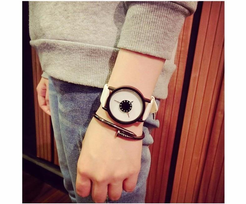 Hot fashion creative watches women men quartz-watch BGG brand unique dial design minimalist lovers' watch leather wristwatches 24