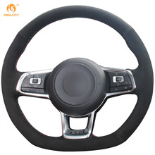 MEWANT Black Suede Car Steering Wheel Cover for Volkswagen Golf 7 GTI Golf R MK7 VW Polo GTI Scirocco 2015 2016