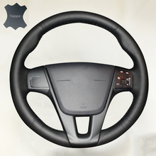 Car Steering Wheel Cover for Volvo S60 V40 V60 V70 2014 XC60 Car accessories Breathable Nappa Leather()